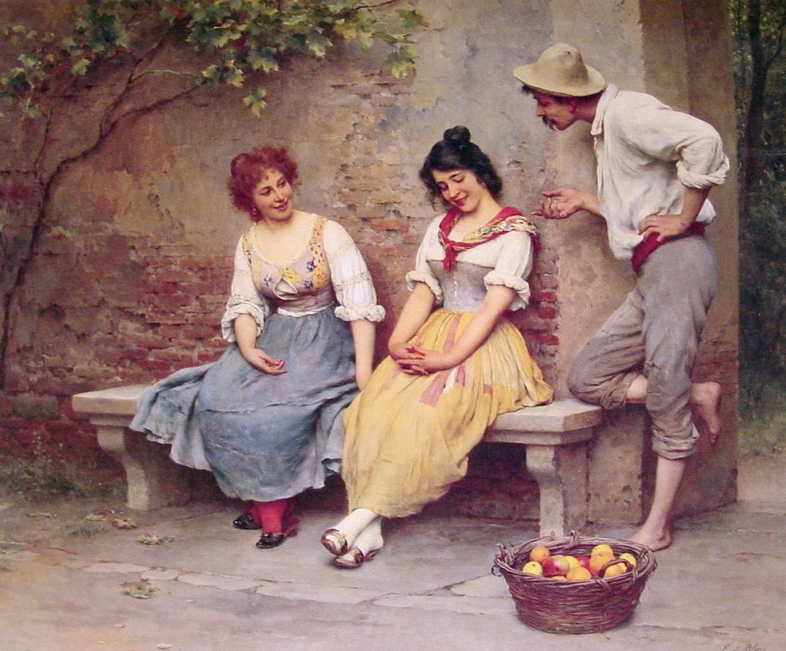 Cuadro de Eugen de Blaas The Flirtation